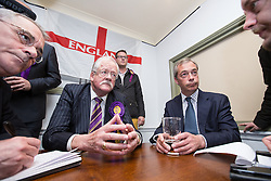 © Licensed to London News Pictures . 05/06/2014 . Newark , Nottinghamshire , UK . UKIP candidate Roger Helmer and leader Nigel Farage in the Queens Head pub in Newark today (Thursday 5th June 2014) as voting takes place in the Newark by-election , following the resignation of incumbent Patrick Mercer . Photo credit : Joel Goodman/LNP