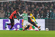 Ryan Christie (#17) lunges for the ball during the Europa League match between Celtic and Rennes at Celtic Park, Glasgow, Scotland on 28 November 2019.