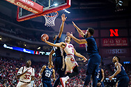 Nebraska Cornhuskers guard Tai Webster #0 dishes the ball to Nebraska Cornhuskers center Jordy Tshimanga #32 for an assist during Nebraska's 82-66 win over Penn State at Pinnacle Bank Arena in Lincoln, Neb. on Feb. 14, 2017. Photo by Aaron Babcock, Hail Varsity