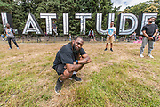 Boy Blue Entertainment appearing via Sadlers Wells pose with the Latitude sign - The 2017 Latitude Festival, Henham Park. Suffolk 14 July 2017