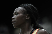 Uganda GD Lilian Ajio during the Netball World Cup 2019 Preparation match between England Women and Uganda at Copper Box Arena, Queen Elizabeth Olympic Park, United Kingdom on 30 November 2018.