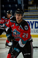 KELOWNA, BC - NOVEMBER 1: Nolan Foote #29 of the Kelowna Rockets warms up on the ice for his first home game as the Captain against the Prince George Cougars at Prospera Place on November 1, 2019 in Kelowna, Canada. (Photo by Marissa Baecker/Shoot the Breeze)