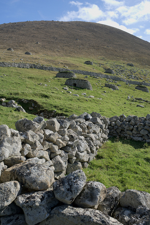 Stone wall and cleits on St. Kilda