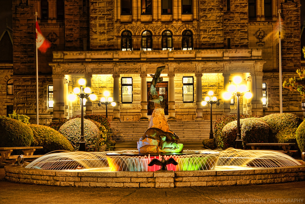 Fountains & Steps to British Columbia Parliament Buildings, Victoria