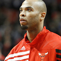 12 March 2012:  Chicago Bulls forward Taj Gibson (22) is seen prior to the Chicago Bulls 104-99 victory over the New York Knicks at the United Center, Chicago, Illinois, USA.