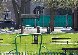 © Licensed to London News Pictures. 20/04/2018. Salisbury, UK. The play area of the Maltings is surrounded by a new barrier as a cleanup operation begins in Salisbury. Former Russian Spy Sergei Skripal and his daughter Yulia were poisoned using a nerve agent in the city lady month. Experts have warned that 'Toxic levels' of the nerve agent novichok could still be present at hot spots around the city. Photo credit: Peter Macdiarmid/LNP