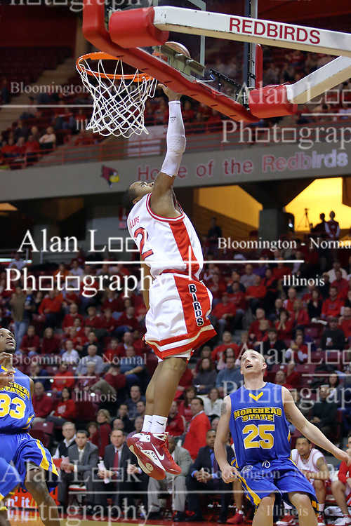 06 December 2008: Lloyd Phillips gets a clean run at the glass for a back-handed lay up during a game where the  Illinois State University Redbirds extended their record to 9-0 with a 76-70 win over the Eagles of Morehead State on Doug Collins Court inside Redbird Arena on the campus of Illinois State University in Normal Illinois