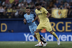 August 31, 2018 - Vila-Real, Castellon, Spain - Victor Ruiz (R) of Villarreal CF competes for the ball with Cristhian Ricardo Stuani Curbelo of Girona FC during the La Liga match between Villarreal CF and Girona FC at Estadio de la Ceramica on August 31, 2018 in Vila-real, Spain  (Credit Image: © David Aliaga/NurPhoto/ZUMA Press)