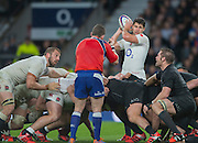 Twickenham, Great Britain, left Chris ROBSHAW and Ben YOUNGS look to the referee for a scrum infringment during the QBE Autumn Internationals, England vs New Zealand, RFU Stadium Twickenham, Surrey.  Saturday  08/11/2014 [Mandatory Credit; Peter SPURRIER/Intersport Images]