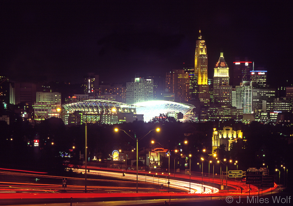 Cincinnati Skyline at night and the Paul Brown Stadium