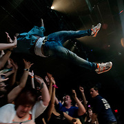 March 28, 2012 - New York, NY : British dubstep music producer / DJ Benga stage dives at the Best Buy Theater in Manhattan on Wednesday evening. CREDIT: Karsten Moran for The New York Times