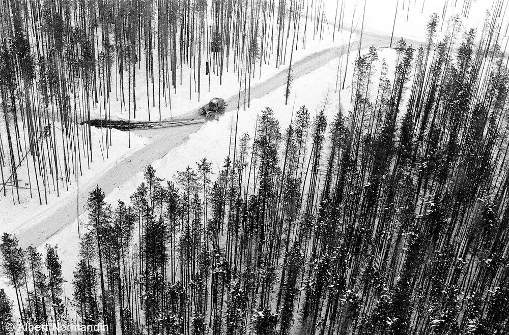 Aerial view of a log skidded working in snow and forest