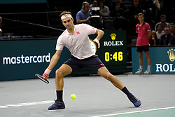 November 3, 2018 - Paris, France - Swiss player ROGER FEDERER returns the ball to Japanese player KEI NISHIKORI during the quarter final of tournament Rolex Paris Master, at AccorHotel Arena Stadium in Paris - France..Roger Federer won 6-4 6-4. (Credit Image: © Pierre Stevenin/ZUMA Wire)