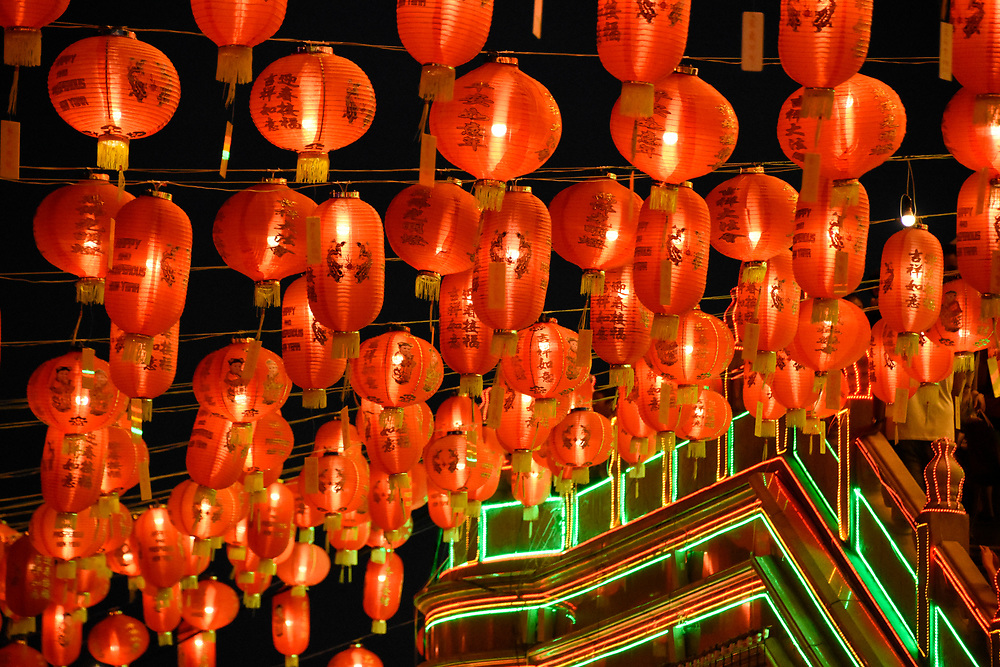 Red and Yellow lanterns illumated at night for the Chinese New year 2018