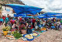 Pisac, Peru - July 14, 2013: people in the Pisac Market in the peruvian Andes at Pisac Peru on july 14th, 2013