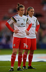 SOUTHAMPTON, ENGLAND - Friday, April 6, 2018: Wales' Hayley Ladd during the pre-match warm-up before the FIFA Women's World Cup 2019 Qualifying Round Group 1 match between England and Wales at St. Mary's Stadium. (Pic by David Rawcliffe/Propaganda)