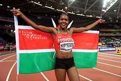 Kenya's Faith Chepngetich Kipyegon celebrates winning the Women's 1500m Final during day four of the 2017 IAAF World Championships at the London Stadium.