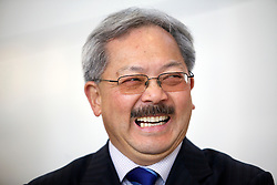 San Francisco mayor Ed Lee laughs during opening ceremonies for the new Terminal 2 at San Francisco International Airport.  The 640,000- square-foot Terminal is expected to be the first LEED Gold-certified terminal in the U.S.