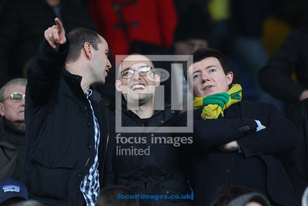 Three traveling Norwich fans still looks happy despite their side going two goals down during the Sky Bet Championship match at Hillsborough, Sheffield<br /> Picture by Paul Chesterton/Focus Images Ltd +44 7904 640267<br /> 04/03/2017