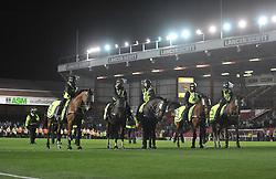 police horses on the pitch.  - Photo mandatory by-line: Alex James/JMP - Tel: Mobile: 07966 386802 04/09/2013 - SPORT - FOOTBALL -  Ashton Gate - Bristol - Bristol City V Bristol Rovers - Johnstone Paint Trophy - First Round - Bristol Derby