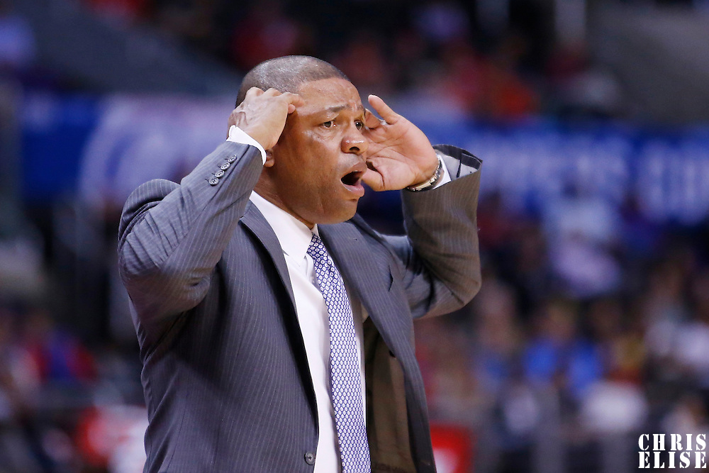 23 October 2013: Los Angeles Clippers head coach Doc Rivers reacts during the Los Angeles Clippers 103-99 victory over the Utah Jazz at the Staples Center, Los Angeles, California, USA.