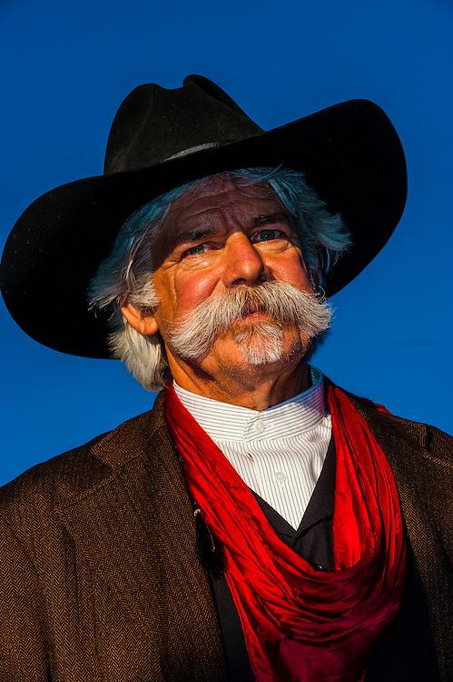 Old West cowboy reenactment, Frontier Homestead State Park Museum, Cedar City, Utah USA.