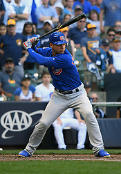 June 13, 2018 - Milwaukee, WI, U.S. - MILWAUKEE, WI - JUNE 13: Chicago Cubs Catcher Willson Contreras (40) at the plate during a MLB game between the Milwaukee Brewers and Chicago Cubs on June 13, 2018 at Miller Park in Milwaukee, WI. The Brewers defeated the Cubs 1-0.(Photo by Nick Wosika/Icon Sportswire) (Credit Image: © Nick Wosika/Icon SMI via ZUMA Press)
