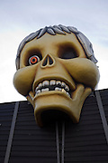 Skull at the Haunted House attraction, Pleasure Beach funfair, Great Yarmouth, Norfolk, England