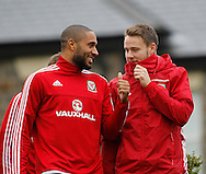 Ashley Williams and Chris Gunter during the Wales Training at the Vale Resort, Hensol<br /> Picture by Mike Griffiths/Focus Images Ltd +44 7766 223933<br /> 10/11/2015