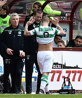 30/04/16 LADBROKES PREMIERSHIP<br /> HEARTS v CELTIC<br /> TYNECASTLE - EDINBURGH<br /> Celtic striker Leigh Griffiths celebrates with manager Ronny Deila