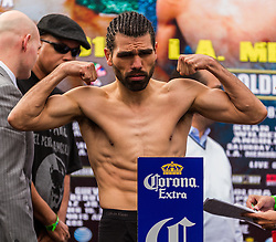 LOS ANGELES, CA - DEC 14: Junior middleweight boxers Alfredo ?Perro? Angulo at the Khan vs Molina official weigh-in at the Los Angeles Sports Arena in Los Angeles, CA 2012/12/14. Byline, credit, TV usage, web usage or linkback must read . Byline and/or web usage link must  read PHOTO: © Eduardo E. Silva/SILVEX.PHOTOSHELTER.COM.