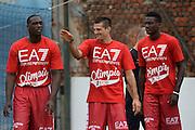 Rakim Sanders Andrea Cinciarini<br /> Allenamento EA7 Emporio Armani Olimpia Milano <br /> Lega Basket Serie A 2016/2017<br /> Milano 19/08/2016<br /> Foto Ciamillo-Castoria