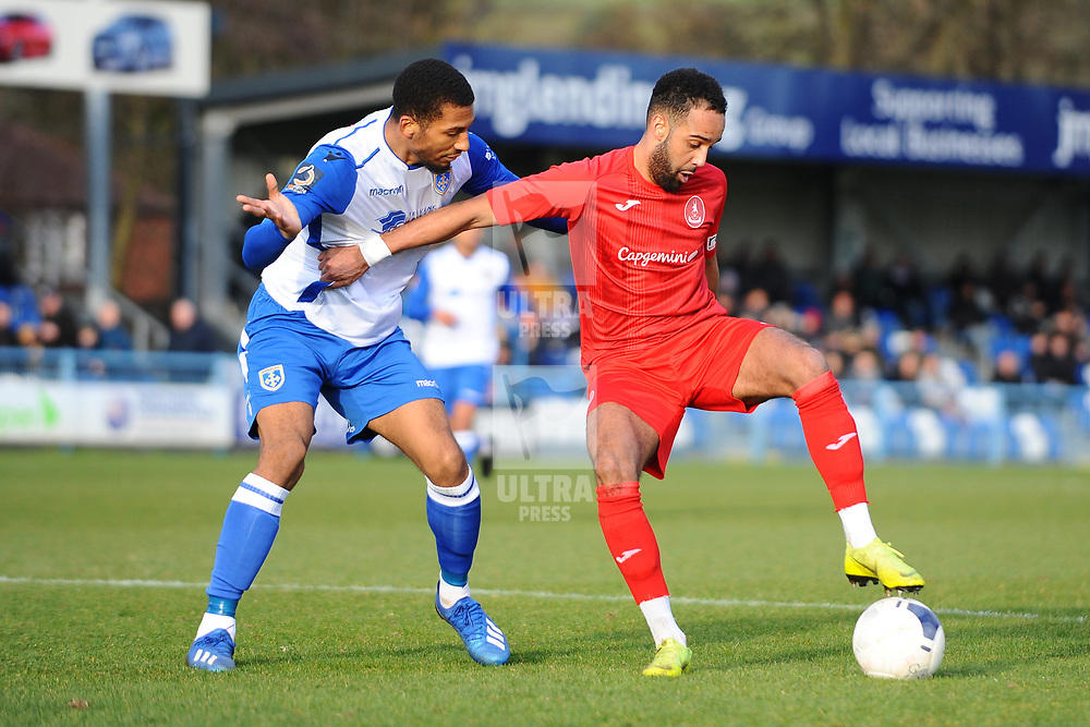 TELFORD COPYRIGHT MIKE SHERIDAN  Brendon Daniels of Telford during the Vanarama Conference North fixture between Guiseley and AFC Telford United at Nethermoor Park on Saturday, February 8, 2020.<br /> <br /> Picture credit: Mike Sheridan/Ultrapress<br /> <br /> MS201920-046