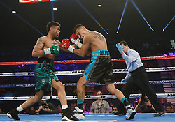 June 10, 2018 - Las Vegas, Nevada, United States of America - Boxer Shakur Stevenson defeats Aelio Mesquita in an eight  round Featherweight bout on June 9, 2018  at the MGM Grand Arena  in Las Vegas, Nevada (Credit Image: © Marcel Thomas via ZUMA Wire)