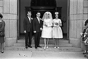 28/07/1962<br /> 07/28/1962<br /> 28 July 1962 <br /> Wedding of Mr Desmond F. English, Landscape Cresent, Churchtown and Miss Blanche O'Brien Oakley Park, Blackrock at St John the Baptist Church, Blackrock and Ross's Hotel Dun Laoghaire, Dublin. Image shows the Bride and Groom with the Bestman and Bridesmaid  after the ceremony.