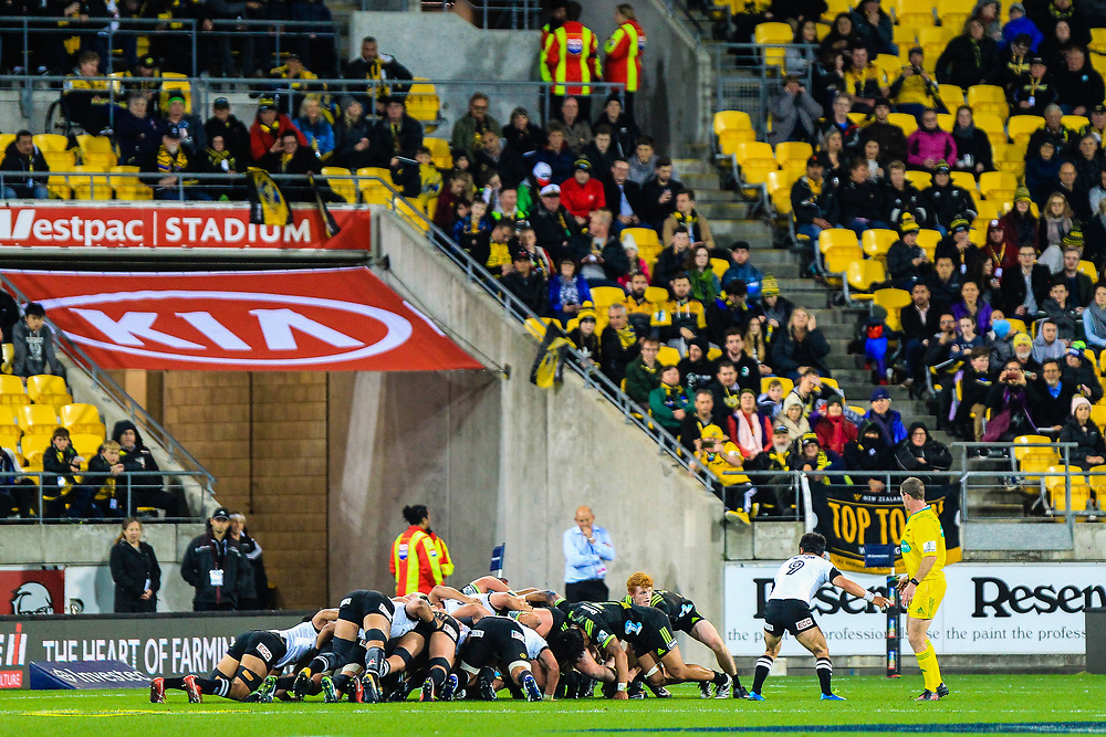 Scrum during the Super Rugby union game between Hurricanes and Sunwolves, played at Westpac Stadium, Wellington, New Zealand on 27 April 2018.   Hurricanes won 43-15.