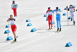 ARENDZ Mark CAN LW6, NITTA Yoshihiro JPN LW8, GERLITS Alexandr KAZ LW6, TUOMISTO Ilkka FIN LW8 competing in the ParaSkiDeFond, Para Nordic Skiing, Sprint at  the PyeongChang2018 Winter Paralympic Games, South Korea.