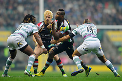 Harlequins Winger (#11) Ugo Monye runs at London Irish Winger (#11) Marland Yarde as Outside Centre (#13) Jonathan Joseph tackles during the first half of the match - Photo mandatory by-line: Rogan Thomson/JMP - Tel: Mobile: 07966 386802 29/12/2012 - SPORT - RUGBY - Twickenham Stadium - London. Harlequins v London Irish - Aviva Premiership - LV= Big Game 5.