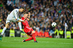 May 2, 2018 - Madrid, Spain - MADRID, SPAIN. May 1, 2018 - Cristiano Ronaldo in action. With a 2-2 draw against Bayern Munchen, Real Madrid made it to the UEFA Champions League Final for third time in a row. Kimmich and James scored for the german squad while Karim Benzema did it twice for los blancos. Goalkeeper Keylor Navas had a great night with several decisive interventions. (Credit Image: © VW Pics via ZUMA Wire)