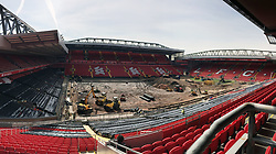"""A general view of Anfield as construction vehicles carry out work on a new """"Desso GrassMaster"""" pitch - a combination of natural grass and artificial fibres - after the previous had exceeded its 10 year life span."""