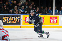 KELOWNA, CANADA - JANUARY 16: Calvin Spencer #22 of Seattle Thunderbirds skates against the Kelowna Rockets on January 16, 2015 at Prospera Place in Kelowna, British Columbia, Canada.  (Photo by Marissa Baecker/Shoot the Breeze)  *** Local Caption *** Chance Braid;