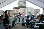 Students from School #17 ate dinner at the Frontier Field on Friday, July 31, and then camped on the field.