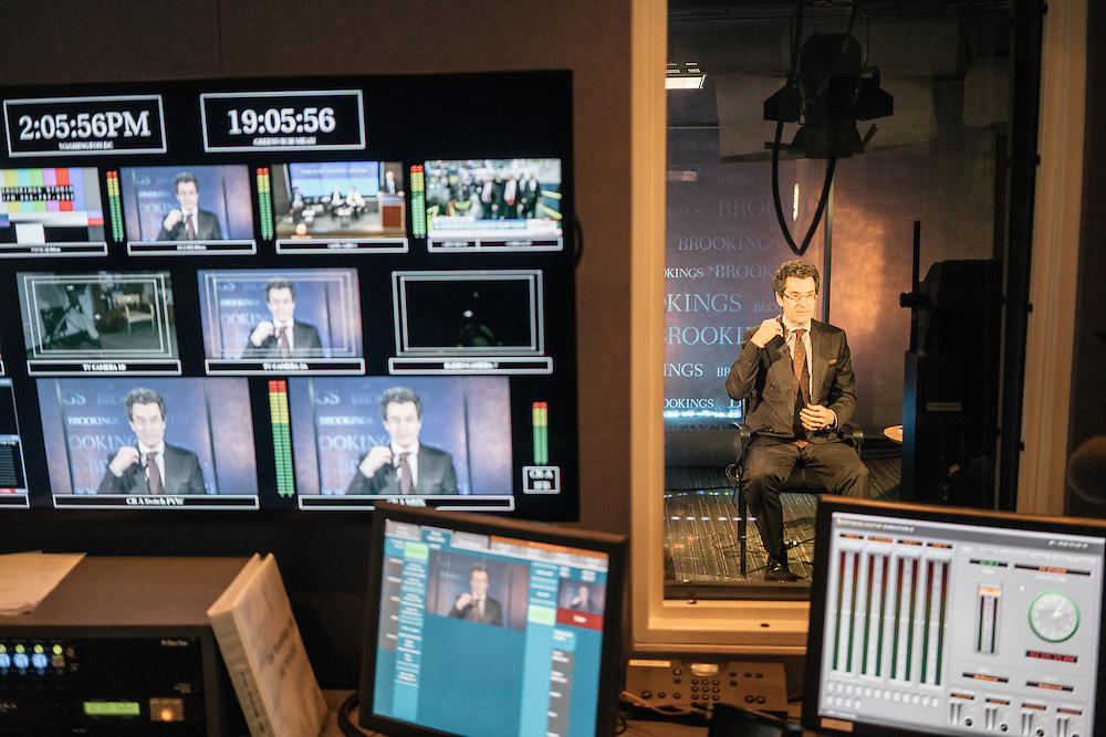 Norman Eisen, current fellow at the Brookings Institution, and former Ambassador to Czech Republic, as well as Special Counsel and Special Assistant to President Obama, does a television interview for a station in New York at the Brookings Institution in Washington, D.C. on Dec. 5, 2016.