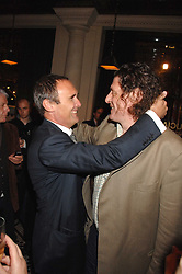 Left to right, A A GILL and MARCO PIERRE WHITE at a party to celebrate the publication of Table Talk by A  A Gill held at Luciano, 72-73 St.James's, London on 22nd October 2007.<br />