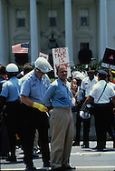 Larry Kramer being arrested in an aids protest demonstration in front of the White House in June 1987<br /> <br /> Photograph by Dennis Brack<br /> bb45