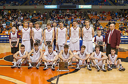 Wheeling Central poses for a picture after losing to Magnolia for the Class A championship game at the Charleston Civic Center.
