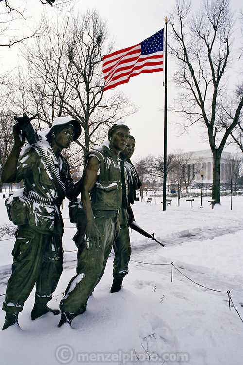 Vietnam War Memorial after a snowstorm. Washington, DC. USA.