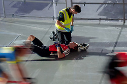 February 8, 2019 - Melbourne, VIC, U.S. - MELBOURNE, VIC - FEBRUARY 08: Joshua Heather is given medical attention after crashing into the barriers at The Six Day Cycling Series on February 08, 2019 at Melbourne Arena, VIC. (Photo by Speed Media/Icon Sportswire) (Credit Image: © Speed Media/Icon SMI via ZUMA Press)