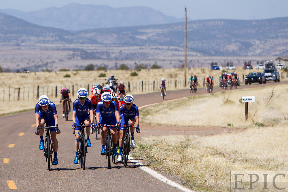 SILVERY CITY, NM - APRIL 18: UnitedHealthcare puts pressure on the field to break it apart heading into the final climb of stage 1 of the Tour of The Gila on April 18, 2018 in Silver City, New Mexico. (Photo by Jonathan Devich/Epicimages.us)