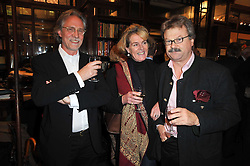 Left to right, CARL GROS, JOHANNA THORNEYCROFT and ANDREAS VON EINSIEDEL at a party to celebrate the publication of Maryam Sach's novel 'Without Saying Goodbye' held at Sotheran's Bookshop, 2 Sackville Street, London on 10th November 2009.